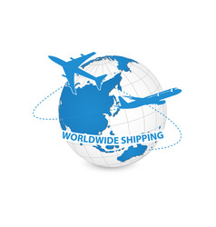 airplane air craft shipping around the world for vector image vector image