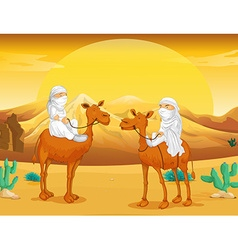 Arabs riding on camels at desert vector image vector image