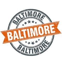 Baltimore red round grunge vintage ribbon stamp vector