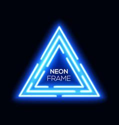 blue neon light triangles shining techno frame vector image vector image