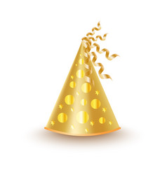 Bright golden festive cap with circles and stars vector