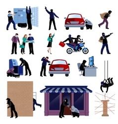 Burglar flat icons set vector