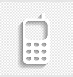 Cell phone sign white icon with soft vector