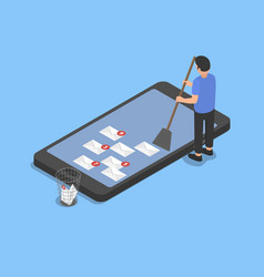 cleaning the smartphone from spam vector image