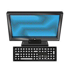 Color blurred stripe computer desk with keyboard vector