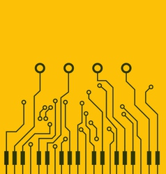 Combined circuit board and piano keys vector image vector image