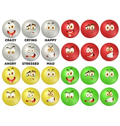 Facial expression on round badges vector image