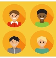 Flat design avatar set of multiracial people vector image