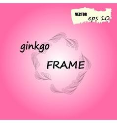 Ginkgo biloba round frame silhouette of ginkgo vector