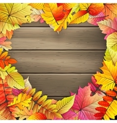 Heart with colored Autumn leaves EPS 10 vector image vector image