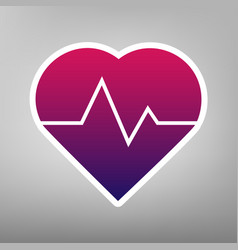 Heartbeat sign purple vector
