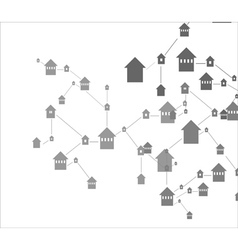 house icons linked together vector image