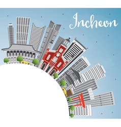Incheon Skyline with Gray Buildings Blue Sky vector image vector image