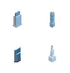 Isometric skyscraper set of apartment urban vector