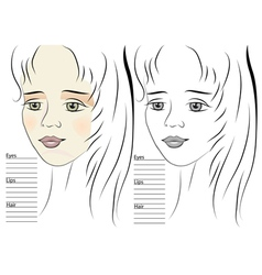 portrait of girl makeup sketch template vector image vector image