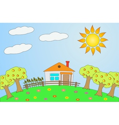rural landscape in summer vector image