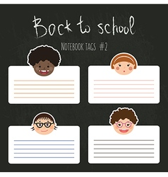 set of funny school tags with chlidren smiles vector image