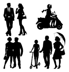 Several people on the street city live vector