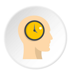 Silhouette of a human head with clock icon circle vector
