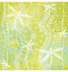 Texture with ornament and dragonfly vector