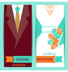Wedding invitation vertical cards in retro style vector