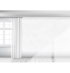 White wall with a window and curtains vector