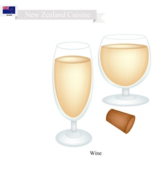 White wine a popular dink in new zealand vector