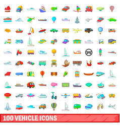 100 vehicle icons set cartoon style vector