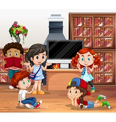 Lots of children reading book in library vector
