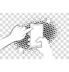Comic phone with halftone shadows hand holding vector