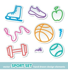hand drawn sport stickers vector image