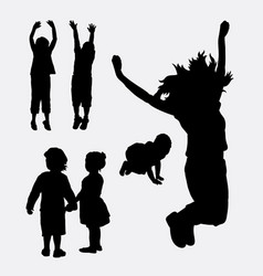 Kids happy and healthy silhouette vector