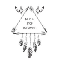 hand drawn boho style design with arrow and vector image