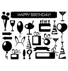 Birthday icons black and white vector