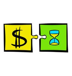 time is money puzzle icon icon cartoon vector image
