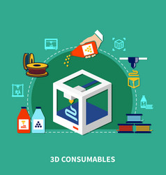 Consumables for 3d printing design concept vector