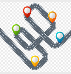 Road with location mark or pin pointer vector