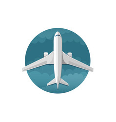 Icon of airplane top view vector