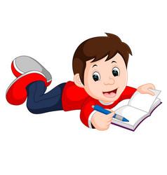 Happy boy reading book alone vector