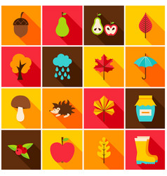 Autumn colorful icons vector