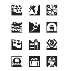 Mining and quarrying industry icon set vector