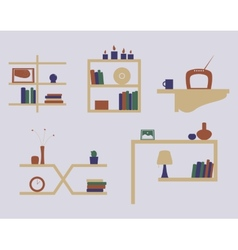 Shelves icon set vector