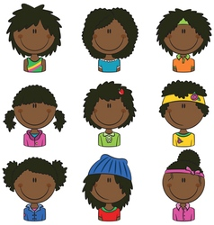 African-american girls avatar vector