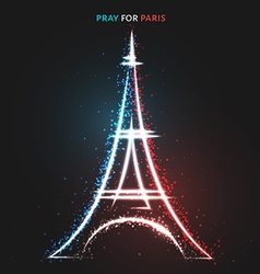 Pray for paris peace lighting effects in flag vector