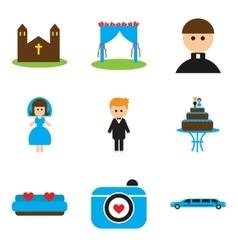 Set of flat web icons on white background wedding vector