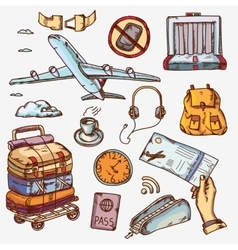airport and air travel icons concept traveling on vector image vector image