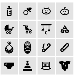 black baby icon set vector image