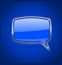 blue speech bubble with chrome frame on blue vector image vector image