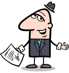 businessman with contract cartoon vector image vector image