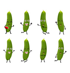 Cucumber cartoon character vector